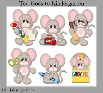 Ted Goes to Kindergarten Clipart ~ Mouse Student Preschool School Supplies Cu Ok