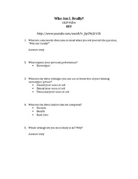 """Video Response Worksheet for Ted Talk: """"Who Am I?"""""""