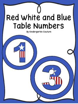 Red, White And Blue Table Numbers 1-10