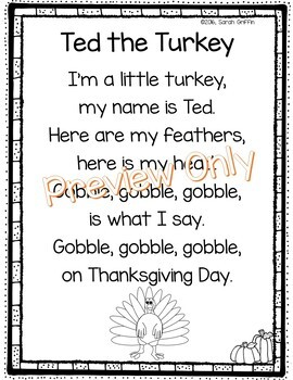 Ted the Turkey - Thanksgiving Poem
