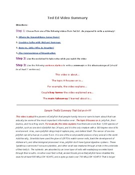 TedEd Summary Worksheet
