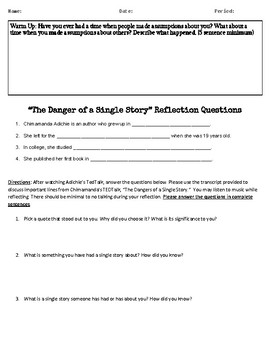 """TedTalk Bundle: """"The Danger of a Single Story"""" Notes and Reflection Questions"""