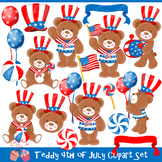 Teddy 4th of July Independence Day July 4 July four Clip Art Set