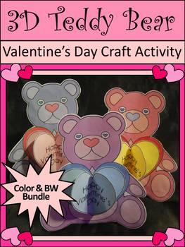 Teddy Bear Activities: 3D Teddy Bear Valentine's Day Craft Bundle - Color&BW