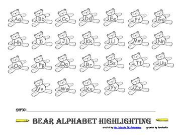 Teddy Bear Alphabet Highlighting