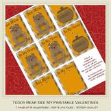 Teddy Bear Bee My Valentine Printable Valentine's