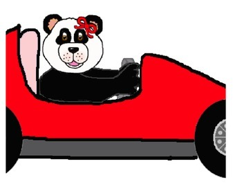 Teddy Bear Boy Girl Indy Race Car Clipart
