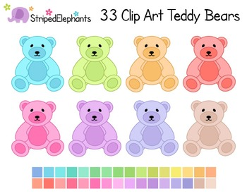 Teddy Bear Clip Art - Pastel