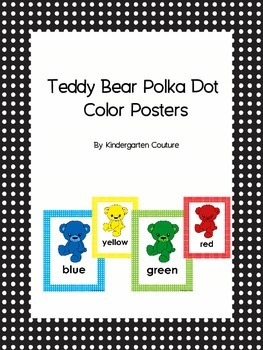 Teddy Bear Color Word Posters with polka dot borders