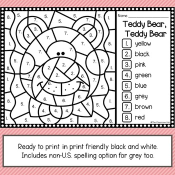 Teddy Bear Color by Code Coloring Theme Activity