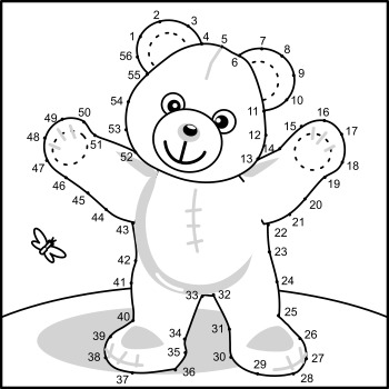 Teddy Bear Connect the Dots and Coloring Page, Commercial Use Allowed