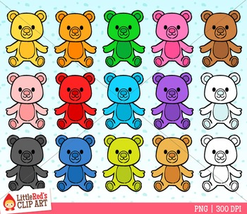 Rainbow Teddy Bear Counter Clipart