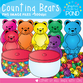Counting Bear Clip Art - Teddy Bear Counters for Teaching Math