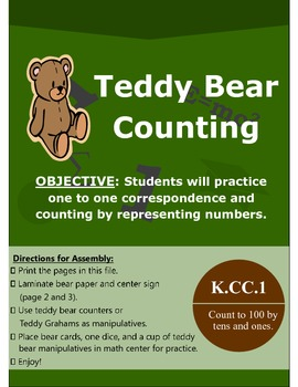 Teddy Bear Counting Math Manipulative Center Game