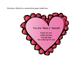 Teddy Bear Craft- Heart Printable FREEBIE