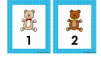 Teddy Bear Desk Plates and Numbers 1-30