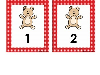 Teddy Bear Desk Plates and Numbers 1-30 with red polka dot border
