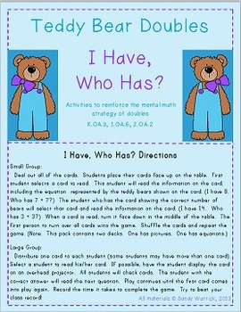 Teddy Bear Doubles: I Have, Who Has?