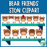 Teddy Bear Friends with Sign Clipart by InspiredBits