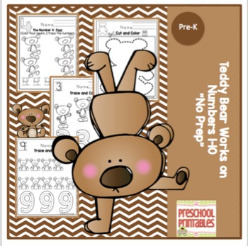 "Teddy Bear Learns Numbers 1-10 ""No Prep"""