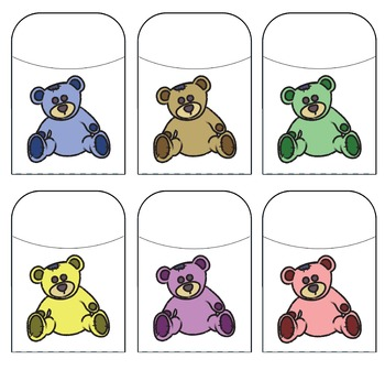Teddy Bear Library Pockets - Assorted Colors
