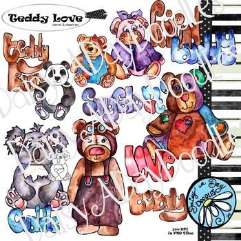 Teddy Bear Love Clip Art - Watercolor