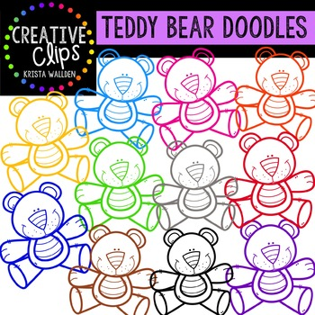 Teddy Bear Outlines {Creative Clips Digital Clipart}