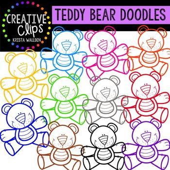 Teddy Bear Outlines {Creative Clips Digital Clipart}