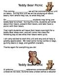 Teddy Bear Picnic Parent letter