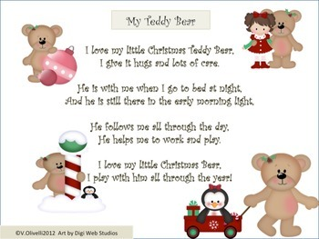 ESL Activity: Christmas Teddy Bear Poem and Activities
