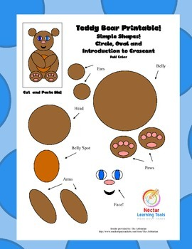 Teddy Bear Printable! Simple Shapes: Circle, Oval and Crescent