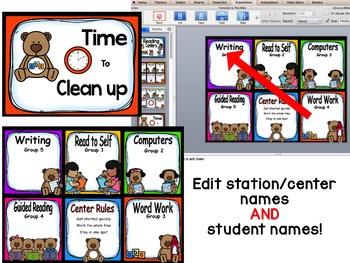 Teddy Bear Reading Center Rotations Editable Powerpoint