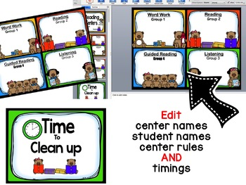 Teddy Bear Reading Center Rotations with 4 centers ~ Editable Powerpoint