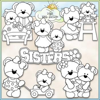 Teddy Bear Sisters Clip Art - Bear Clip Art - CU Clip Art & B&W