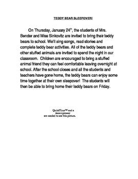 Teddy Bear Sleepover Parent Letter By Groovyteach Tpt