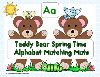 Teddy Bear Spring Time Alphabet Matching Mats