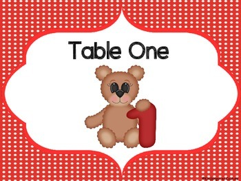 Teddy Bear Table Numbers 1 - 8 Red Polka Dot