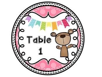 Teddy Bear Table Numbers