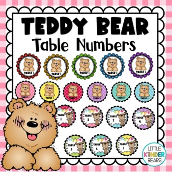 Teddy Bear Table Numbers