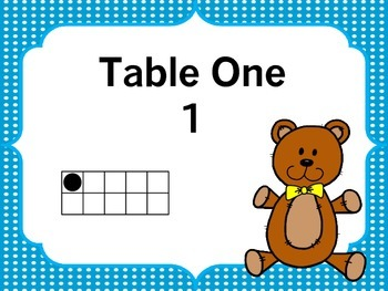 Teddy Bear Table Numbers Blue Polka Dots