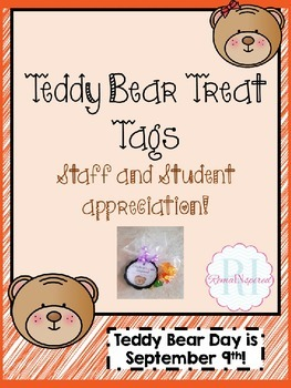 Teddy Bear Tags for Staff and Student Appreciation