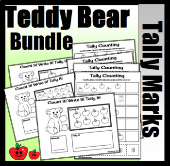 Teddy Bear Tally Bundle (Uncolored Mat Activity, and Worksheets)