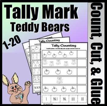 Teddy Bear Tally Marks - Count, Cut And Glue
