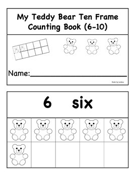 Teddy Bear Ten Frame Counting Book 2 (6-10)