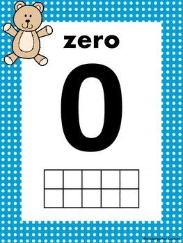 Teddy Bear Ten Frame Posters 0-10 blue polka dot