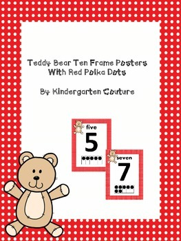 Teddy Bear Ten Frame Posters 0-10 red polka dot