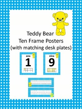 Teddy Bear Ten Frame Posters with Desk Plates