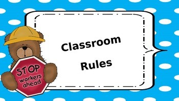 Teddy Bear Theme Classroom Rules