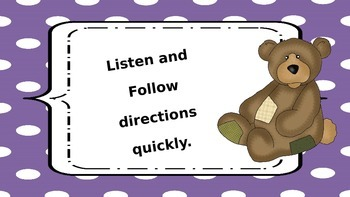 Teddy Bear Themed Classroom Rules