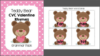 Teddy Bear Valentine CVC Rhymes - Grammar Pack